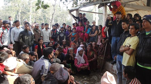 Balapur Community, Nepal, people assembling in the village after the demonstration was thwarted by force, Feb. 2012 by fian_international