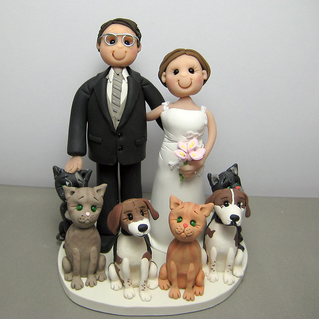 19 Cake Toppers for Dog Lovers That Will Have You Hearing Wedding     Wedding cake topper cats and dogs