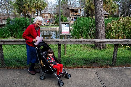 At the Gulf Breeze Zoo with Grandma.