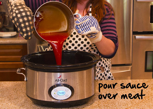 pour sauce over meat