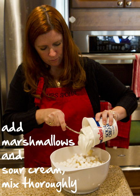 add marshmallows and sour cream