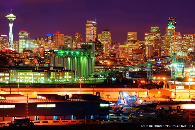 Seattle Skyline & Smith Cove Waterway on a clear night!