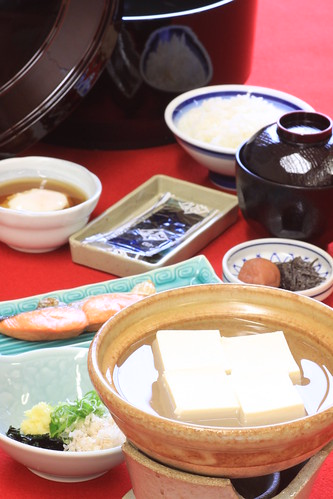 Breakfast featuring boiled tofu