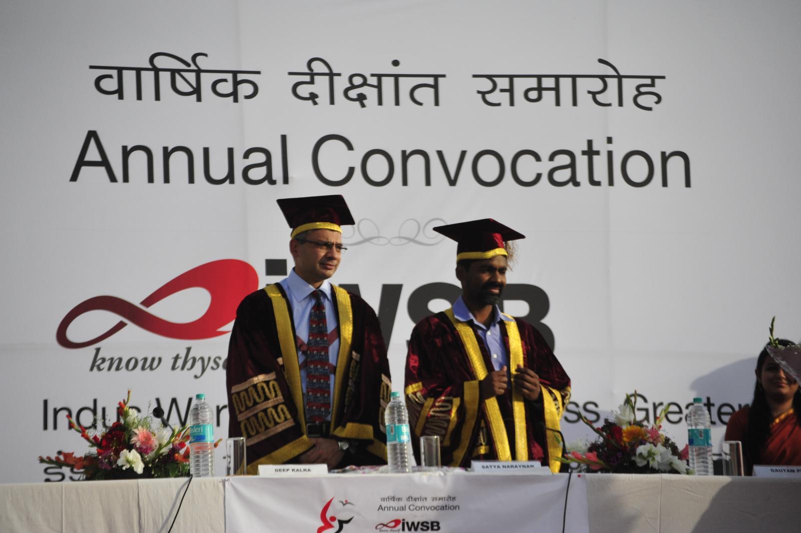 Deep Kalra, Founder MakeMyTrip.com; Satya, Chairman, BOG, IWSB at the 3rd convocation of IWSB