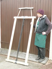 Barbara with her frame saw