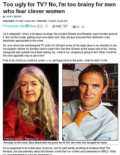 ROMAN ARCHAEOLOGY: The SUNDAY TIMES critic A.A. Gill insults Prof. Mary Beard, Prof. Beard Responses with Roman Vengeance. THE DAILY MAIL, U.K. (23/04/2012). by Martin G. Conde