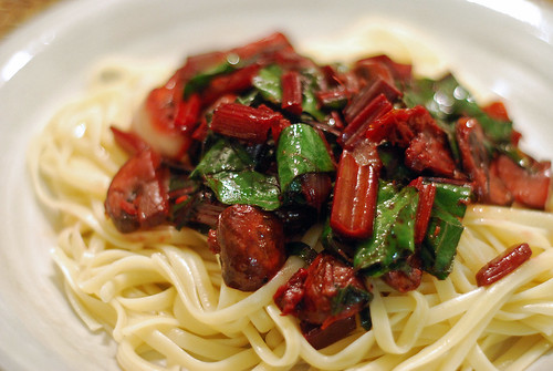 Linguine with beet greens