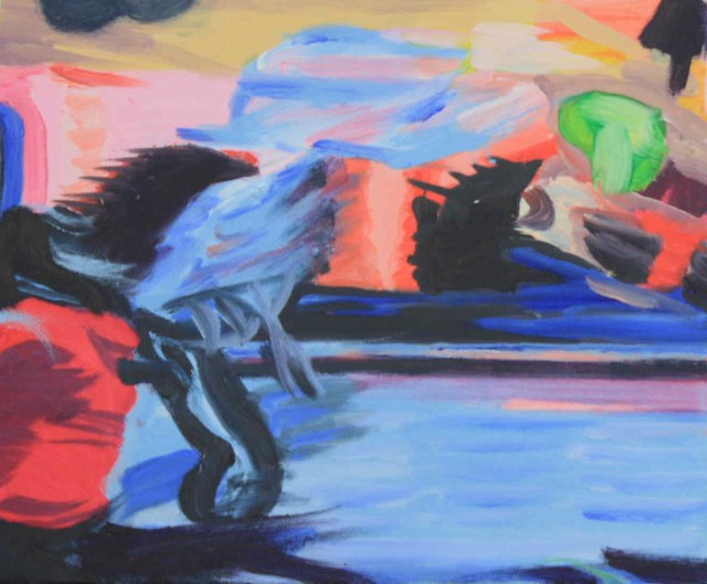 Janet E Davis, Street dancer with umbrella, oils on canvas, 2009. JED2_H72_020841