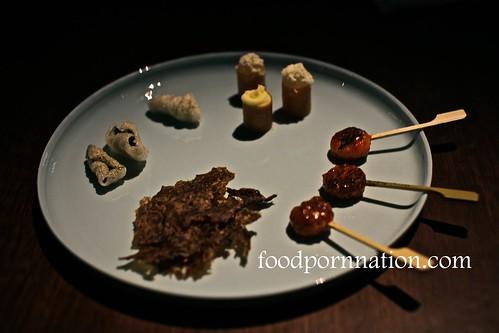 shiitake chips, nori, mochi and smoke potato with apple