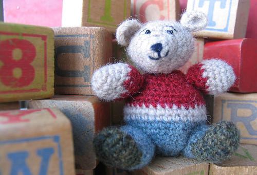 Amigurumi Teddy Bear from Recycled Far Isle Sweater#1