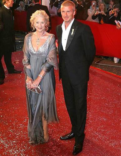 Helen Mirren with David Beckham