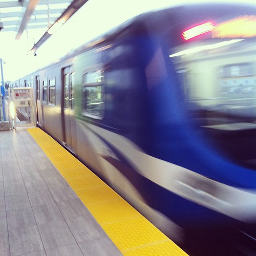 Photo #112 in my project 366. It portrays a SkyTrain leaving Sea Island Centre Station heading toward YVR-Airport.