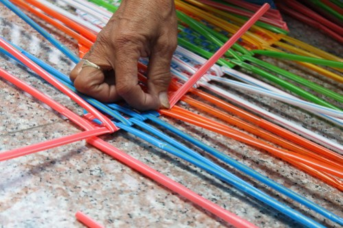 Plastic Straw Weaving