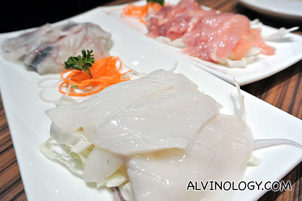 Slices of squid, fish, chicken