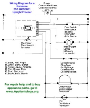 Wiring Diagram for a Kenmore 25328093801 Upright Freezer