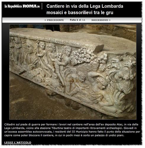 ROMA ARCHEOLOGICA - Viaggio nei sotterranei dell'ex deposito Atac dal Pleistocene ai colori del tardo Impero. LA REPUBBLICA (25/04/2012).   by Martin G. Conde