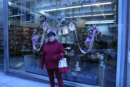 Dianne in front of Tinsel Trading Company