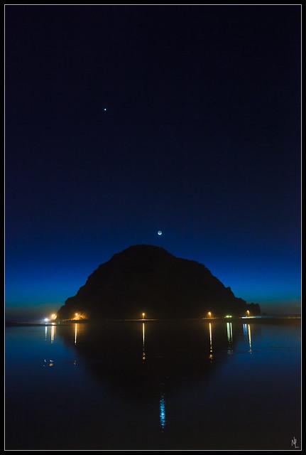Morro Rock Moon