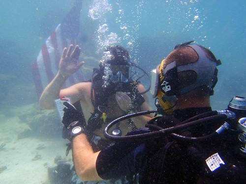 Serviccemember reenlists underwater