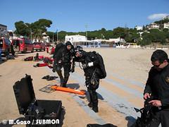 Grup subaquàtic dels Mossos durant les pràctiques