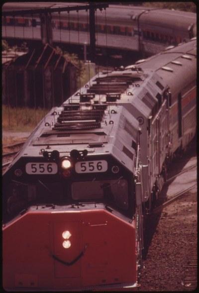 The Coast Starlight (train #11) pulls into the Tacoma Washington, passenger train depot, July 1974