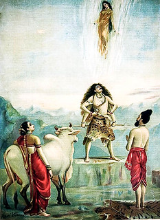Descent Of Ganga – painting by Raja Ravi Varma