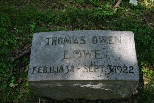 Thomas Owen Lowe, Woodland Cemetery (individual headstone)