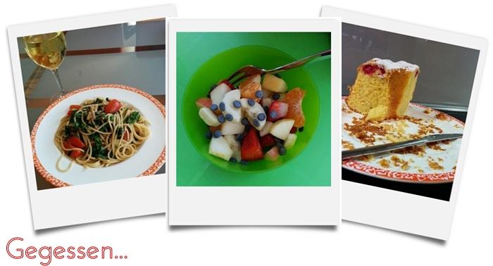 Gegessen 12/14 pasta mit bärlauch, tomaten | fruchtsalat | gugelhupf mit himbeeren