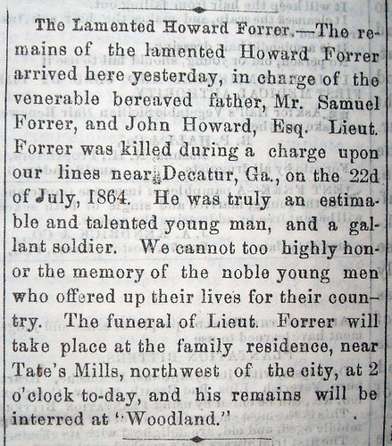 The Lamented Howard Forrer, Dayton Journal, 14 Nov. 1865