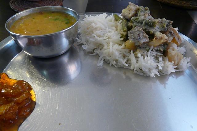 shukto on rice with mumg-masur dal, and green mango relish