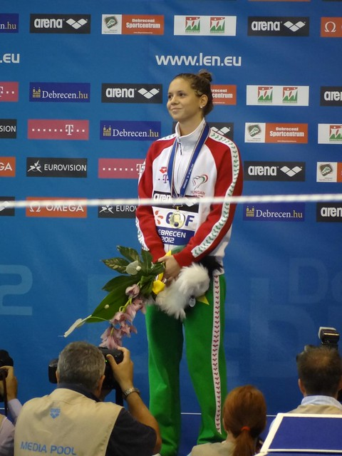 Boglárka Kapas on the Debrecen 2012 medal podium