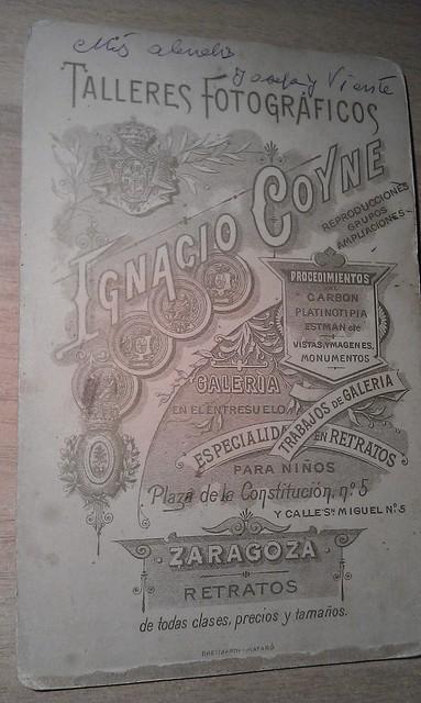 Reverso de una fotografía de I. Coyne, ????