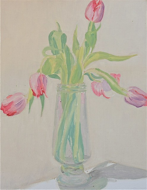 Janet E Davis, sketch of pink tulips in glass jar, 1993-4. JED2_H300_021139