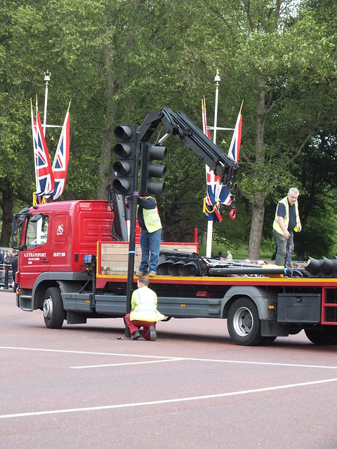 Traffic light removal ready for Queens Trooping the colour