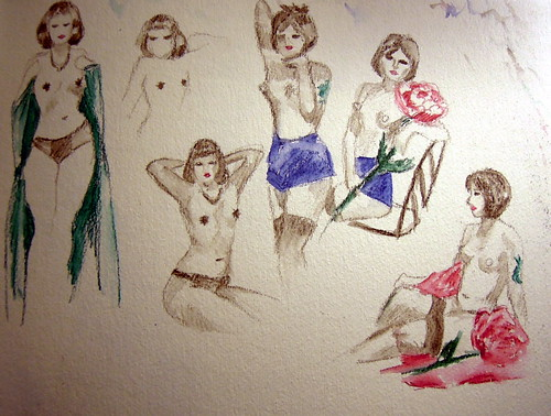 Sketches of burlesque performers