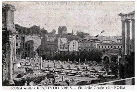 """Rome, Visitor Center / Roman Forum (1906): View of the first center near the Roman Forum, established by Prof. Giacomo Boni in 1906. Displayed here the """"RICOSTRUZIONE PLASTICA ESEGUITA DAL PROF. G. MARCELLIANI,"""" the first model of ancient Rome (ca. 1906). by Martin G. Conde"""