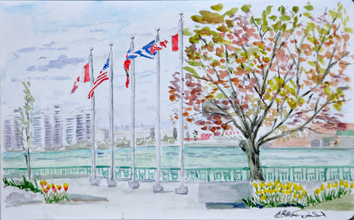 35 International Sketch Crawl.  Dieppe Park/Detroit River from the Windsor Side. by photographerpainterprintmaker