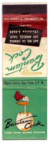 bantam cock matchbook
