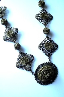 Antique Gold Polymer Clay on Antique Brass