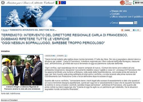 """ITALIA - EMERGENZA EMILIA / TERREMOTO: 'INTERVENTO DEL DIRETTORE REGIONALE CARLA DI FRANCESCO, DOBBIAMO RIPETERE TUTTE LE VERIFICHE """"OGGI NESSUN SOPRALLUOGO, SAREBBE TROPPO PERICOLOSO.' MiBAC (29-30/05/2012). by Martin G. Conde"""