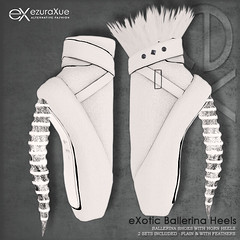 ezura + eXotic Ballerina Heels White