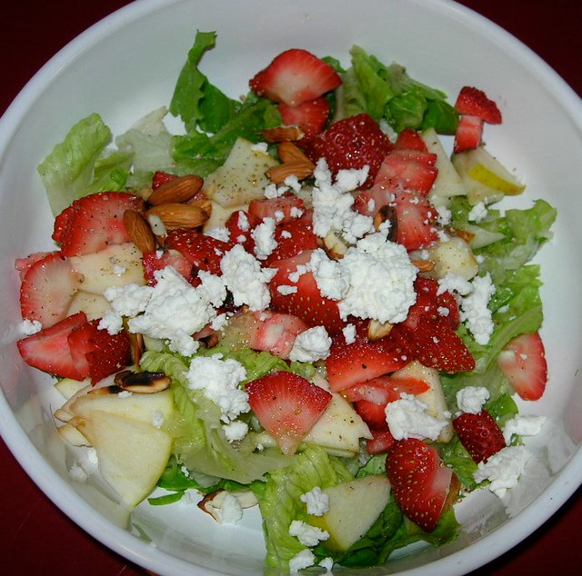 Strawberries, Apple and Chevre Salad