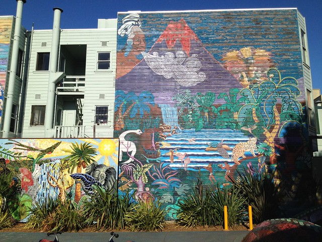 Jungle themed mural artwork, 24th and York Street Mini Park