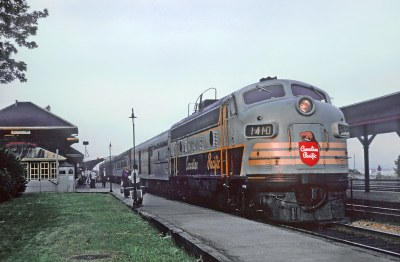 CP 154 FP7 with Train 1543, The Viger at Westmount, Que. Note dome car.  September 1, 1968