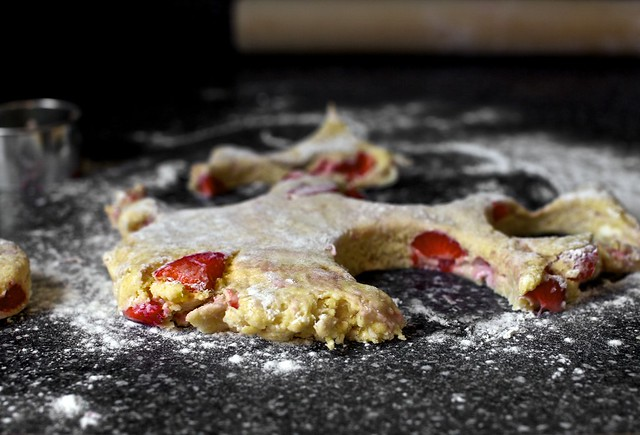 strawberry-specked dough