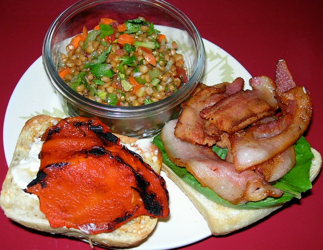 Bacon, Roasted Pepper and Basil sandwich with Wheatberry Salad