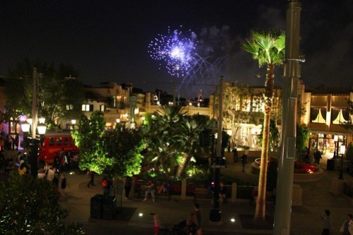 Disneyland fireworks from Carthay Circle Restaurant balcony