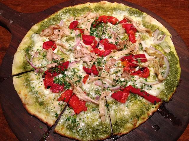 Chicken pesto pizza Firewood Cafe