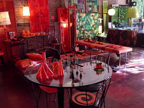 red & orange swirls of handmade glassware by denise carbonell