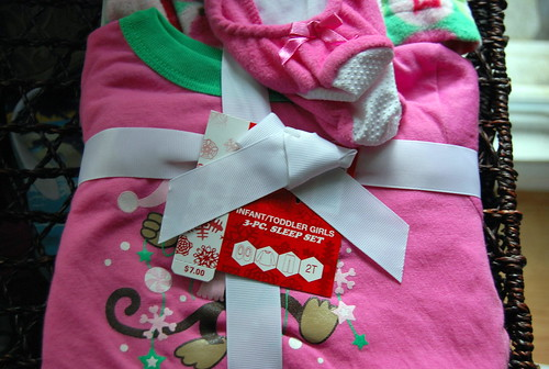 Pink holiday 3 piece sleep set from Old Navy